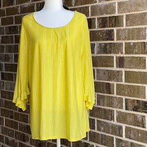 Anthropologie W5 Yellow top Size 1X Unique Sleeves